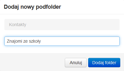 Poczta home.pl - Książka adresowa - Nowy folder prywatny - Podaj nazwę dla tworzonego podfolderu