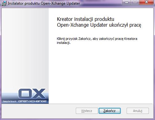 OXConnector.exe - Instalator produktu Open-Xchange Updater - Zakończenie instalacji - Kliknij przycisk Zakończ