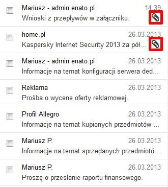 Poczta home.pl - Skrzynka odbiorcza - Wybierz wiadomość e-mail, która zawiera załącznik (oznaczony jest ikoną spinacza)