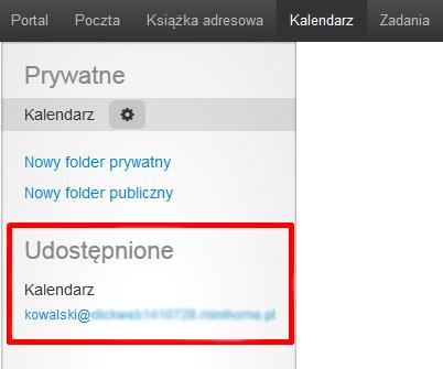 Poczta home.pl - Kalendarz - Udostępnione - Lista skrzynek e-mail