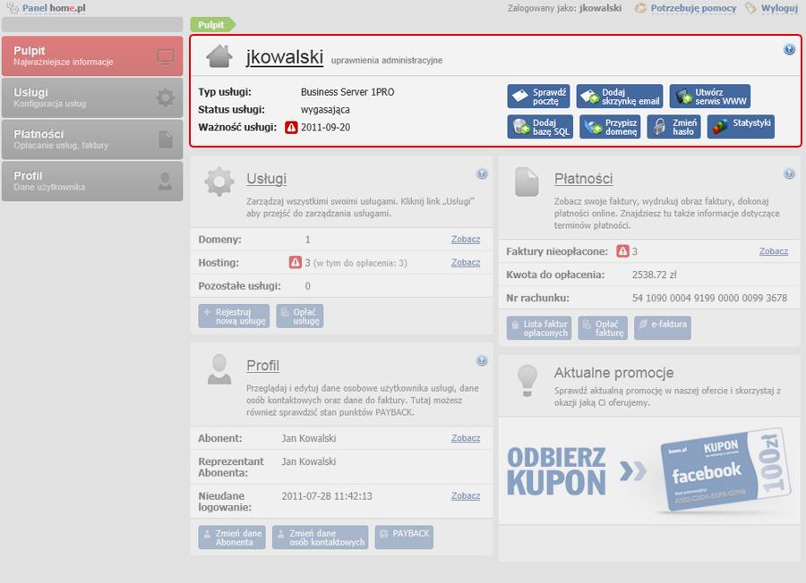 Panel Klienta - Sekcja informacja o zalogowanej usłudze znajduje się w górnej części ekranu