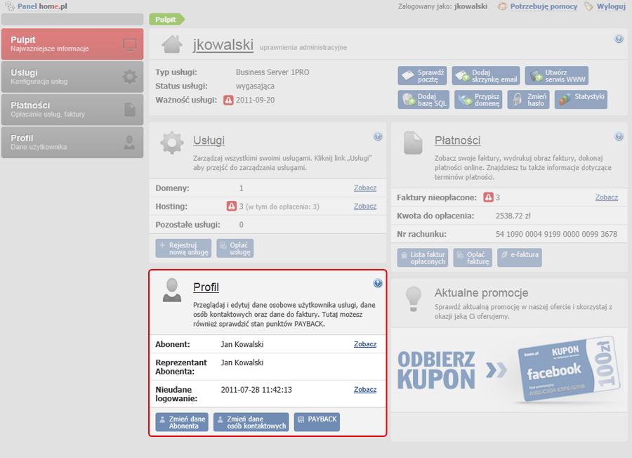 Panel klienta - Pulpit - Przykładowa zawartość sekcji Profil