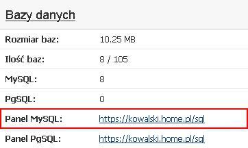 Panel Klienta - Usługi - Wybrana usługa - Konfiguracja usługi - Kliknij link w pozycji Panel MySQL