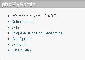 phpMyAdmin - Ekran Główny - Przydatne linki