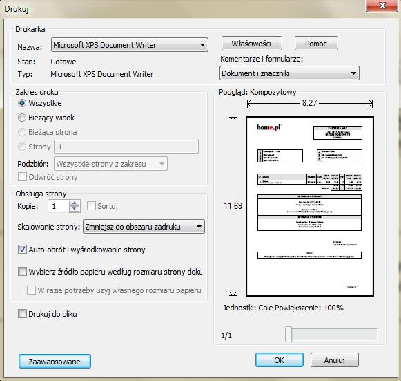 Adobe Reader - Faktura VAT - Drukuj - Kliknij przycisk OK, aby wydrukować dokument