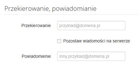 Poczta home.pl - Ustawienia - Opcje konta - Skonfiguruj przekierowania i powiadomienia