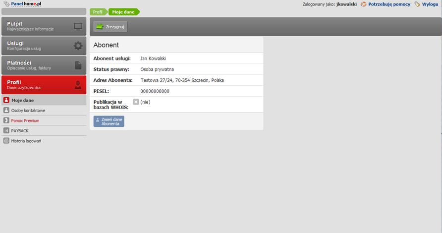 Panel klienta - Profil - Moje dane - Kliknij przycisk Zmień dane abonenta