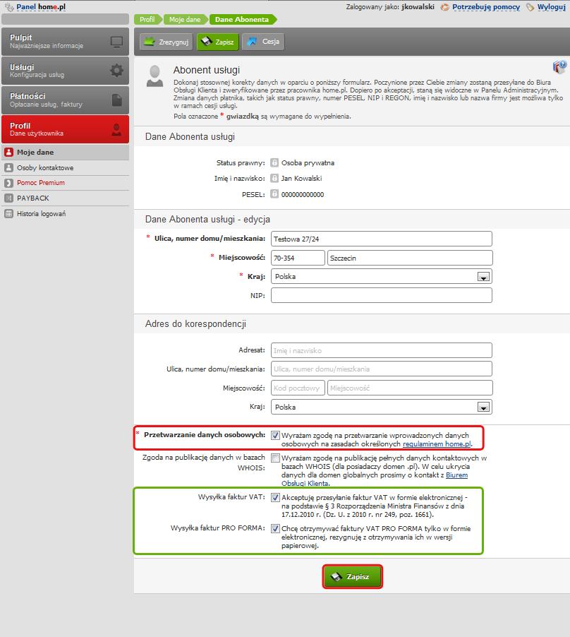 Panel klienta - Profil - Moje dane - Zmień następujące Dane abonenta
