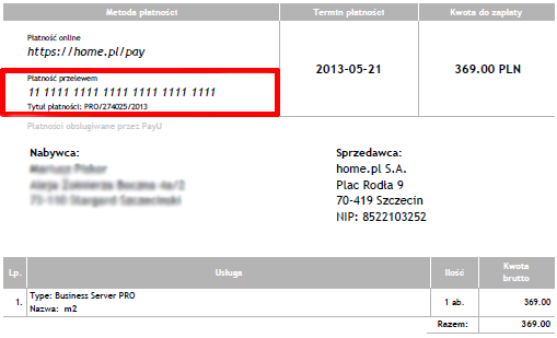 Przykładowa PRO FORMA - Metoda płatności - Płatność przelewem - Numer rachunku bankowego