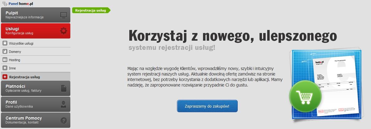 Panel klienta - Usługi - Rejestracja usług - Przejdź do nowego systemu rejestracji usług
