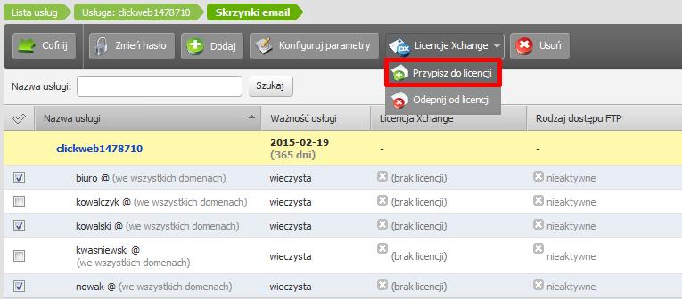 Panel Klienta - Usługi - Nazwa serwera - Konfiguracja usługi - Skrzynki e-mail - Lista - Zaznaczone skrzynki - Kliknij przycisk Licencje Xchange i wybierz opcję Przypisz do licencji
