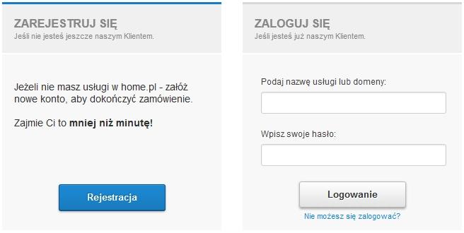 Formularz identyfikacji klienta - Zarejestruj się / Zaloguj się - Podaj dane dostępowe do Twojej usługi w home.pl