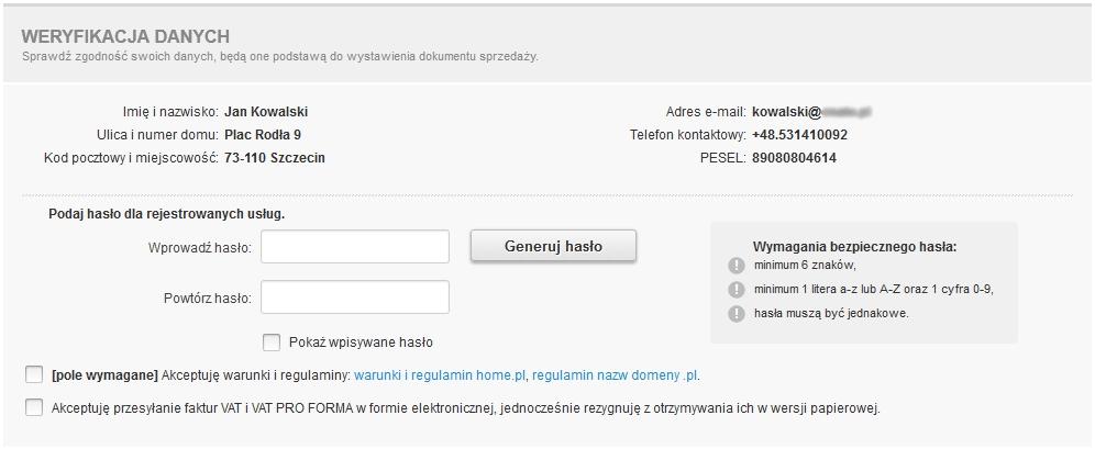 eKsięgowość - Pakiet - Zamów - Dodano do koszyka - Formularz rejestracyjny - Weryfikacja danych - Sprawdź wyświetlone informacje o zamówieniu i zdefiniuj hasło dostępu dla nowej usługi