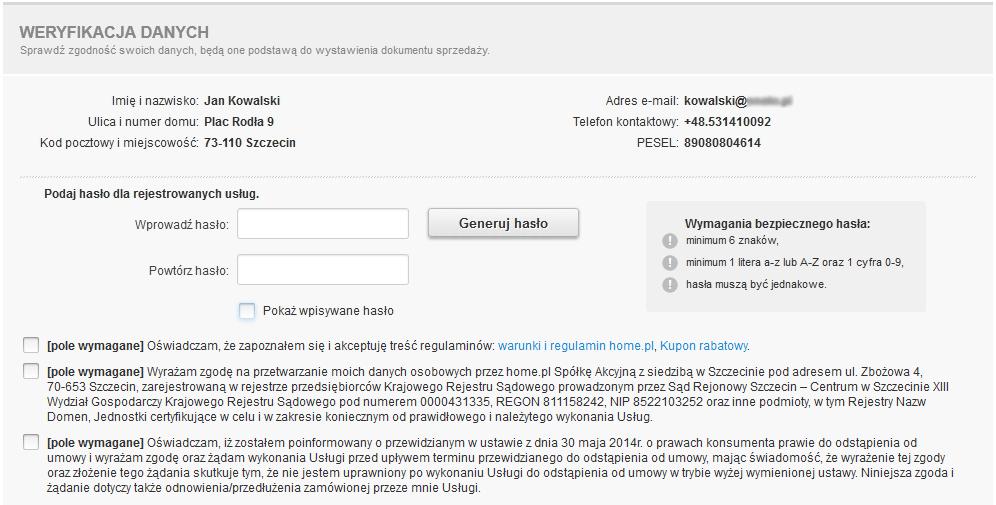 Formularz identyfikacji klienta - Zarejestruj się - Sprawdź wprowadzone dane abonenta