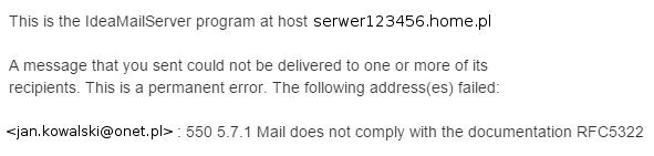 Nie mogę wysłać e-mail na pocztę w Onet, WP.pl lub Interia