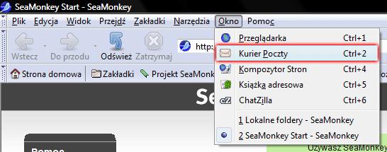 SeaMonkey - Okno - Wybierz opcje Kurier Poczty