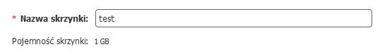 Panel klienta - Usługi - Nazwa domeny - Tworzenie skrzynki e-mail - W formularzu, w polu Nazwa skrzynki wpisz nazwę nowej skrzynki e-mail