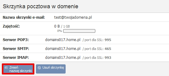 Panel klienta - Usługi - Nazwa domeny - Konfiguracja usługi - Skrzynka pocztowa w domenie - Kliknij przycisk Zmień nazwę skrzynki