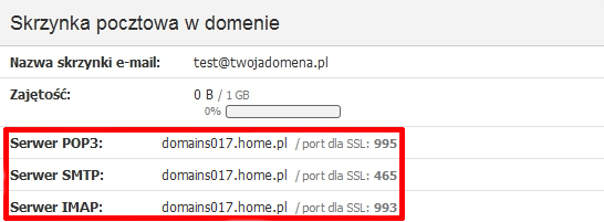 Panel klienta - Usługi - Nazwa domeny - Konfiguracja usługi - Skrzynka pocztowa w domenie - Podstawowe dane służące do konfiguracji skrzynki e-mail