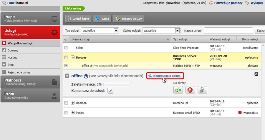 Panel Klienta - Usługi - Mini-Podgląd usługi - Kliknij przycisk Konfiguracja usługi