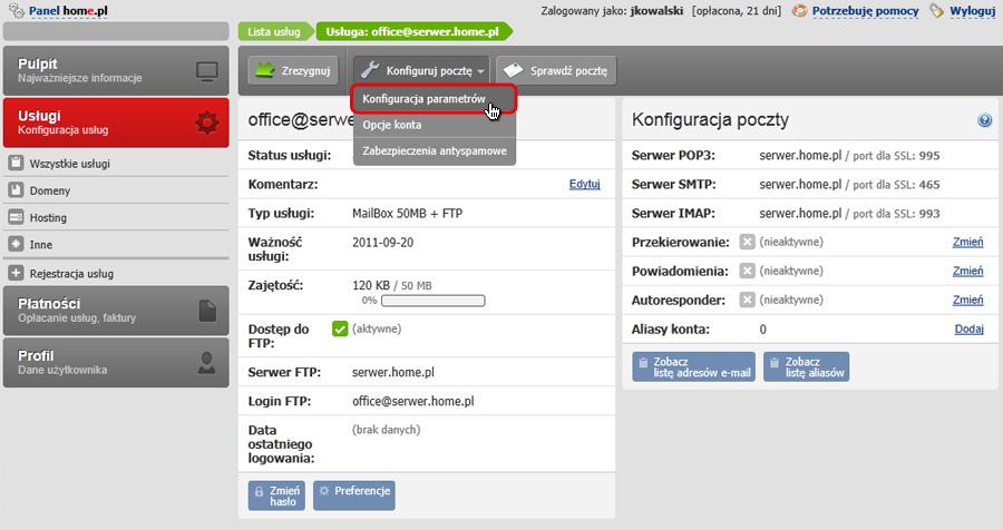 Panel Klienta - Usługi - Mini-Podgląd usługi - Konfiguracja usługi - Konfiguruj pocztę - Wybierz opcje Konfiguracja parametrów