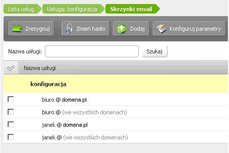 Panel klienta - Usługi - Lista usług - Konfiguracja usługi - Przykładowy widok listy skrzynek e-mail