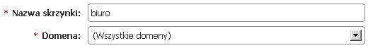 Panel klienta - Usługi - Lista usług - Konfiguracja usług - Skrzynki e-mail - Uzupełnij dane w formularzu Konta przypisanego do wszystkich domen