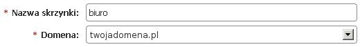 Panel klienta - Usługi - Lista usług - Konfiguracja usług - Skrzynki e-mail - Uzupełnij dane w formularzu Konta przypisanego do konkretnej domeny