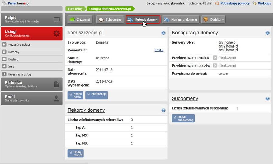 Panel klienta - Usługi - Wybrana usługa - Konfiguracja usługi - Kliknij przycisk Rekordy domeny