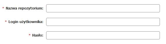 Panel klienta - Usługi - Nazwa serwera - Konfiguracja usługi - Narzędzia - Repozytoria SVN - Dodaj element - Wypełnij wszystkie pola formularza
