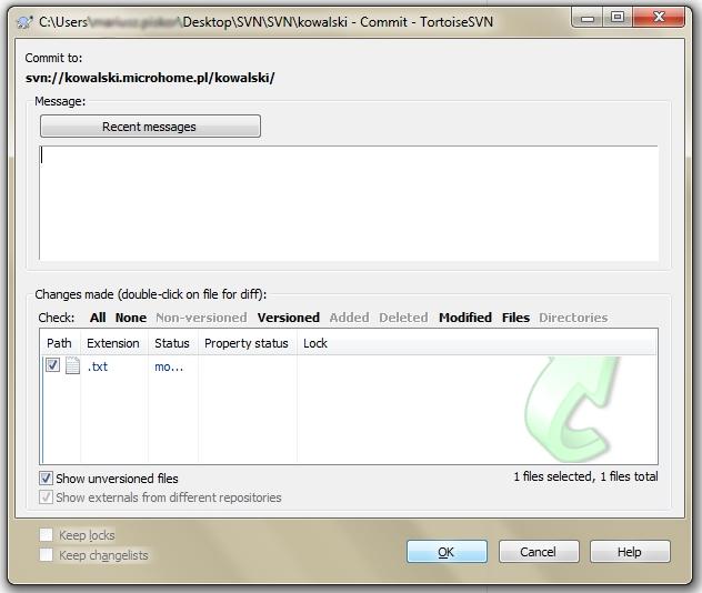 Zmieniony plik lub katalog - SVN Commit - TortoiseSVN - Dodaj notatki na temat kolejnej wersji pliku