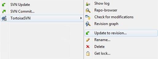Zmieniony plik lub katalog - TortoiseSVN - Wybierz opcję Update to revision