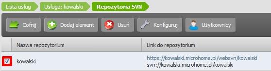 Panel Klienta - Usługi - Nazwa serwera - Konfiguracja usługi - Narzędzia - Repozytoria SVN - Zaznacz repozytorium