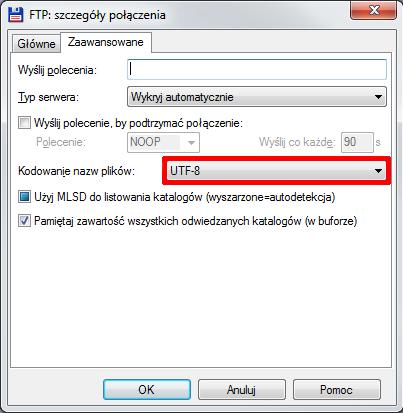 Total Commander - Szczegóły połączenia - Zaawansowane - W polu Kodowanie nazw plików wybierz opcje UTF-8