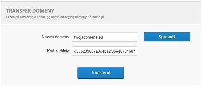 Transfer domeny - Formularz transferu - Wpisz kod autoryzujący transfer