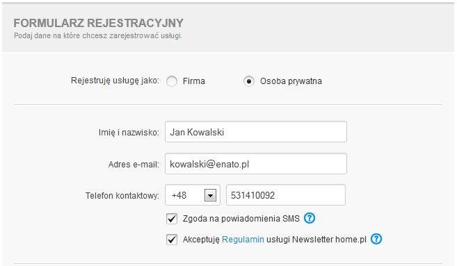 Transfer domeny - Formularz transferu - Formularz rejestracyjny - Podaj dane abonenta, na które chcesz zarejestrować usługi