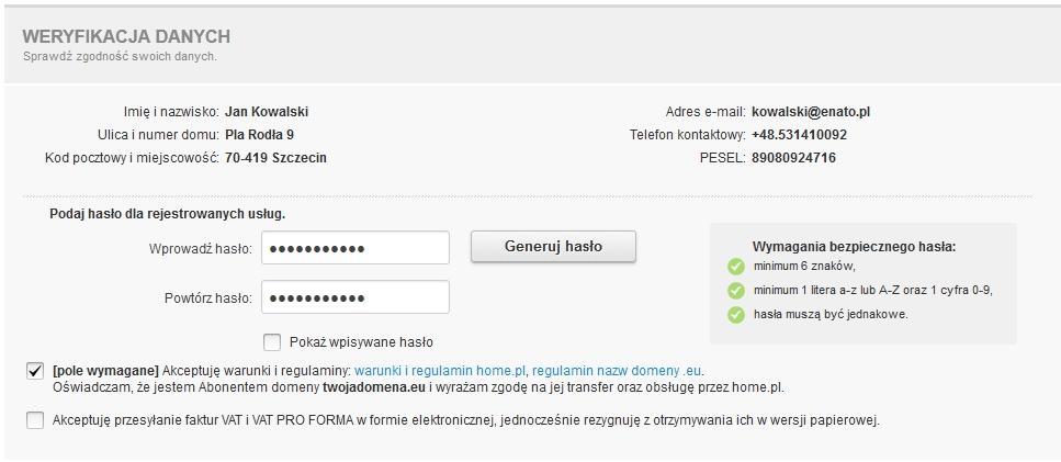 Transfer domeny - Formularz transferu - Formularz rejestracyjny - Weryfikacja danych - Sprawdź poprawność danych abonenta