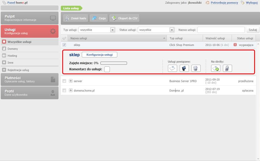 Panel klienta - Usługi - Sprawdź ile danych umieściłeś na serwerze