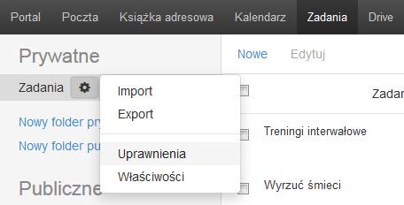 Poczta home.pl - Zadania - Ikona koła zębatego - Wybierz opcję Uprawnienia