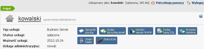 Po zalogowaniu do Panelu klienta home.pl nie widzę wszystkich usług