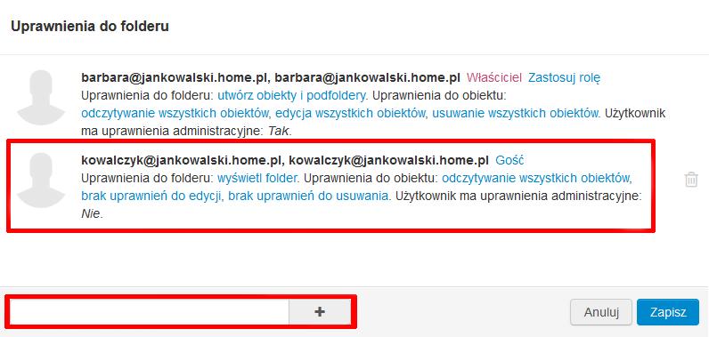 Poczta home.pl - Zadania - Ikona koła zębatego - Uprawnienia - Określ uprawnienia do listy zadań
