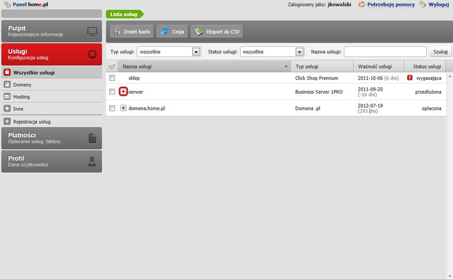 Panel Klienta - Usługi - Wybierz usługę i kliknij w znak plusa, aby rozwinąć listę usług