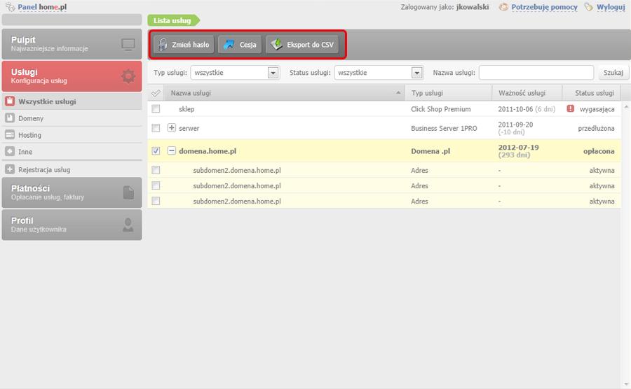 Panel Klienta - Usługi - Wszystkie usługi - Na samej górze ekranu dostępny jest pasek akcji