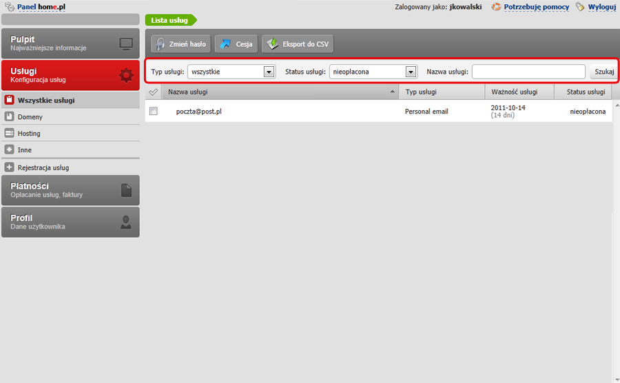 Panel Klienta - Usługi - Wszystkie usługi - Znajdź usługę za pomocą Wyszukiwarki usług