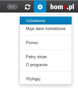 Poczta home.pl - Naciśnij ikonę koła zębatego i wybierz opcję Ustawienia