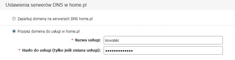 Panel Klienta home.pl - Konfiguruj - Ustawienia serwerów DNS w home.pl - Skonfiguruj domenę