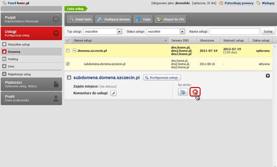 Panel klienta - Usługi - Mini-Podgląd usługi - W sekcji Na skróty kliknij ikonę Usuń
