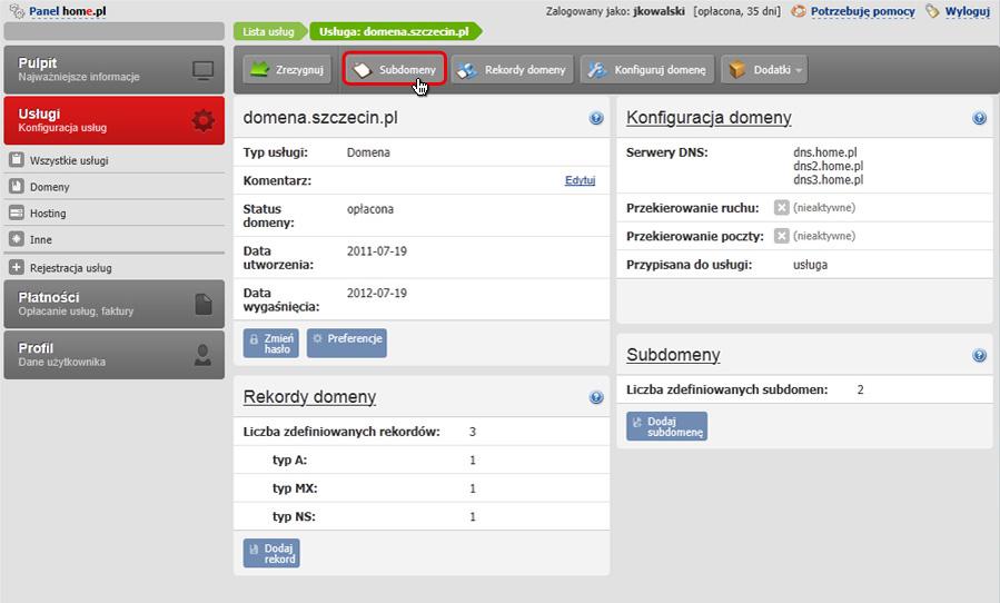 Panel klienta - Usługi - Mini-Podgląd usługi - Konfiguracja usługi - W pasku akcji kliknij przycisk Subdomeny