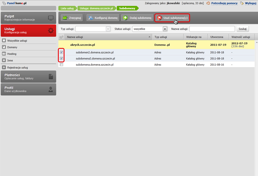 Panel klienta - Usługi - Mini-Podgląd usługi - Konfiguracja usługi - Subdomeny - Zaznacz te subdomeny, które chcesz usunąć, a następnie kliknij przycisk Usuń subdomeny