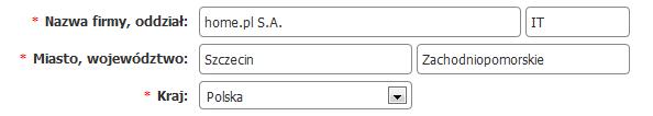 Panel klienta - Certyfikat homeSSL - zamówienie - Formularz - Uzupełnij dane firmy (organizacji) wnioskującej o certyfikat SSL